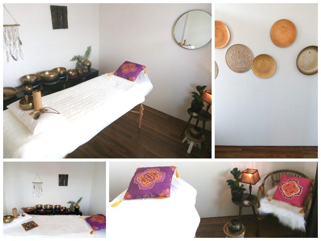 Praktijkruimte Balans in jezelf, ontspannen met klankschalen, klankschalenmassage praktijk Linda, Arnhem