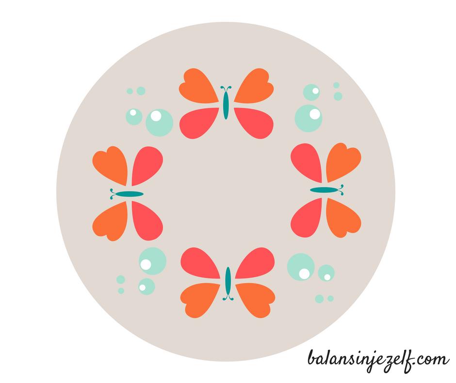 Teken de vlinder mandela na, vlindermeditatie, balansinjezelf