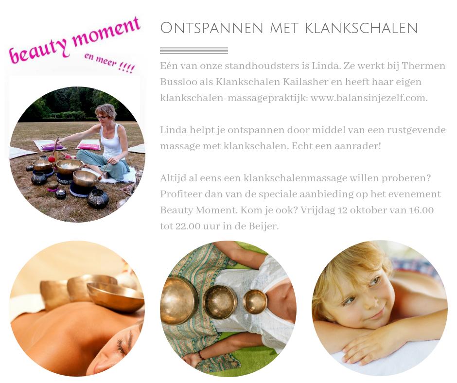 Linda helpt je ontspannen dankzij een heerlijke klankschalenmassage bij de Beijer in Arnhem tijdens het Beauty Evenement.